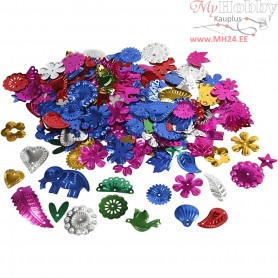 Sequins, size 15-45 mm, bold colours, carnival, 30g