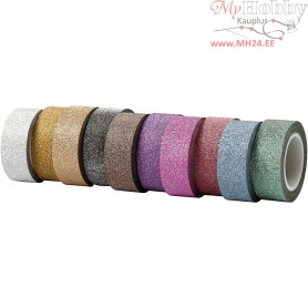 Glitter Tape, W: 15 mm, asstd colours, 10x6m
