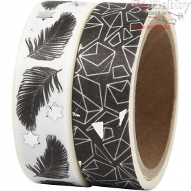 Washi Tape, W: 15 mm, , feather and pattern -foil, 2x4m