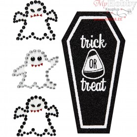 Rhinestone Stickers, sheet 14x17 cm, ghosts and coffin, 1sheet