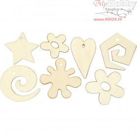 Wooden decorations, size 30-55 mm, 46mixed