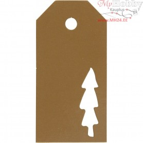 Manilla Tags, size 5x10 cm,  300 g, gold, christmas tree, 15pcs