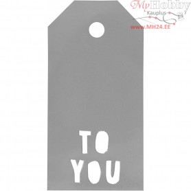 Manilla Tags, size 5x10 cm,  300 g, silver, TO YOU, 15pcs