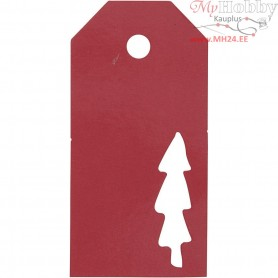 Manilla Tags, size 5x10 cm,  300 g, red, christmas tree, 15pcs
