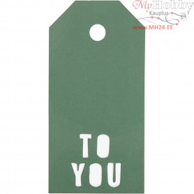 Manilla Tags, size 5x10 cm,  300 g, green, TO YOU, 15pcs