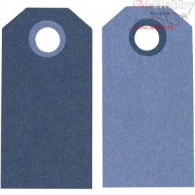 Manilla Tags, dark blue/light blue, size 6x3 cm,  250 g, 20pcs