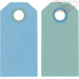 Manilla Tags, dark turquoise/light turquoise, size 6x3 cm,  250 g, 20pcs