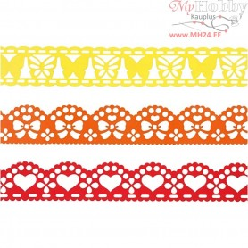 Paper Lace Borders, W: 15 mm, yellow, orange, red, 3x2m