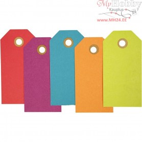 Manilla Tags, size 5x10 cm,  250 g, asstd. colours, 20pcs