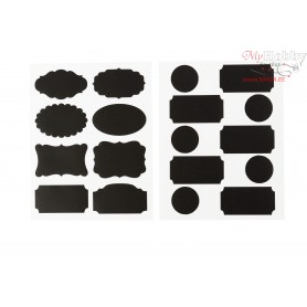 Chalkboard Stickers, sheet 14x18 cm, black, tags, 2mixed sheets