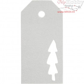 Manilla Tags, size 5x10 cm,  300 g, silver, christmas tree, 15pcs