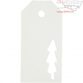 Manilla Tags, size 5x10 cm,  300 g, white, christmas tree, 15pcs