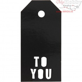 Manilla Tags, size 5x10 cm,  300 g, black, TO YOU, 15pcs