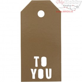 Manilla Tags, size 5x10 cm,  300 g, gold, TO YOU, 15pcs