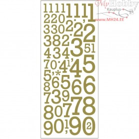 Glitter Stickers, sheet 10x24 cm, gold, numbers, 2sheets