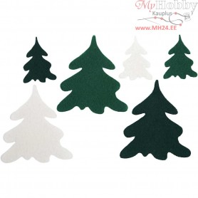 Christmas Trees, H: 4+7 cm, thickness 1,5 mm, 240mixed