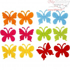 Felt Butterflies, size 30 mm, thickness 1,5 mm, 18mixed