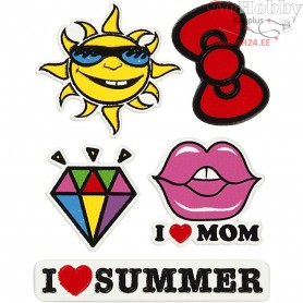 Soft Stickers, sheet 12,2x17,75 cm, I Love Mom, 1sheet