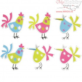 Hens, size 39x30 mm, thickness 2 mm, 6mixed