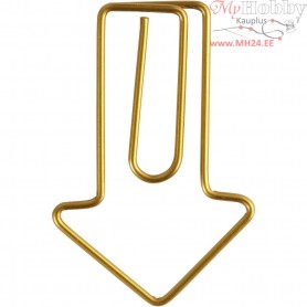 Metal Paperclips, size 40x25 mm, gold, arrow, 6pcs