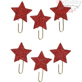 Metal Paperclips, D: 30 mm, red glitter, star, 6pcs