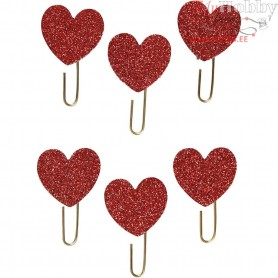 Metal Paperclips, D: 30 mm, red glitter, hearts, 6pcs