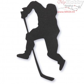 Cardboard Emblem, black, size 54x64 mm, ice hockey player, 10pcs