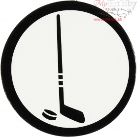 Cardboard Emblem, white/black, D: 25 mm, ice hockey stick, 20pcs
