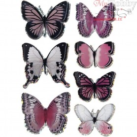 3D Stickers, size 28-45 mm, purple, butterfly, 7pcs