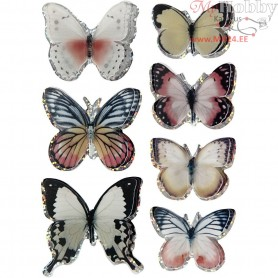 3D Stickers, size 26-48 mm, asstd colours, butterfly, 7pcs