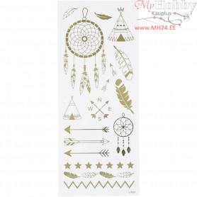 Stickers, sheet 10x24 cm, approx. 17 pc, gold, Native American, 1sheet