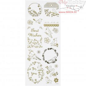 Stickers, sheet 10x24 cm, approx. 17 pc, gold, birds, 1sheet
