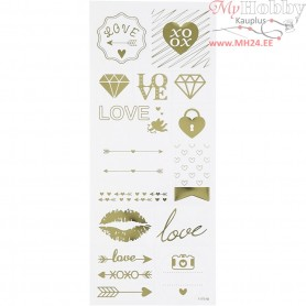 Stickers, sheet 10x24 cm, approx. 14 pc, gold, love, 1sheet