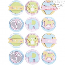 3D Baby Stickers, D: 35 mm, thickness 5 mm, baby, 1sheet