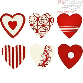 Wooden Stickers, size 35x35 mm, 6mixed