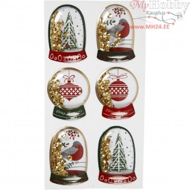 Shaker stickers, size 49x32+45x36 mm, gold, bird, tree and christmas balls, 6pcs
