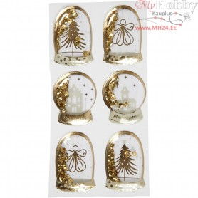 Shaker stickers, size 49x32+45x36 mm, gold, angel, tree and houses, 6pcs