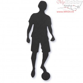 Cardboard Emblem, black, size 33x80 mm, football player, 10pcs