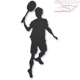 Cardboard Emblem, black, size 40x90 mm, Tennis player, 10pcs