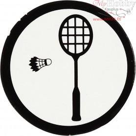 Cardboard Emblem, white/black, D: 25 mm, badminton racket, 20pcs