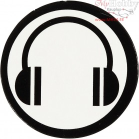 Cardboard Emblem, white/black, D: 25 mm, ear phone, 20pcs