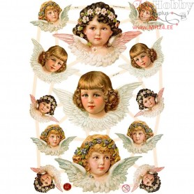 Vintage Die-Cuts, sheet 16,5x23,5 cm, angels girls, 3sheets