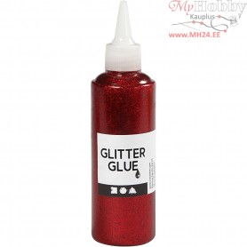 Glitter Glue, red, 118ml