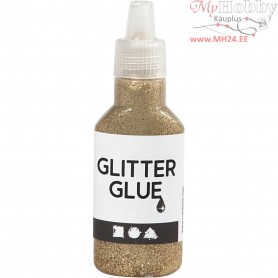 Glitter Glue, gold, 25ml