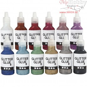 Glitter Glue, asstd colours, 12x25ml