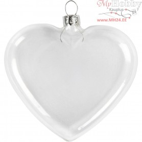 Flat Glass Heart, H: 7,8 cm, W: 9 cm, 6pcs, thickness 2,1 cm