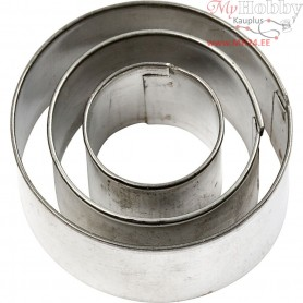Cookie Cutters, largest size 40x40 mm, Round, 3pcs