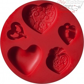 FIMO push mould, D: 7 cm, hearts, 1pc