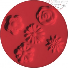 FIMO push mould, D: 7 cm, flowers, 1pc