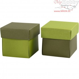 Folding box, size 5,5x5,5 cm,  250 g, dark green/lime green, 10pcs
